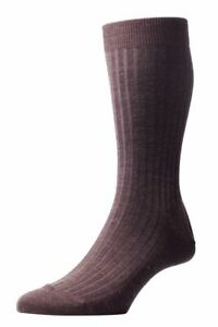 Pantherella Mens Laburnum Rib Merino Wool Socks - Dark Brown Mix