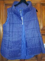 New Eileen Fisher L quilted recycled nylon stand Collar Vest $298 NWT darknight