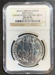 2014 G. Britain $2PND Britannia Lunar Horse Obverse-Mule NGC MS69 PL