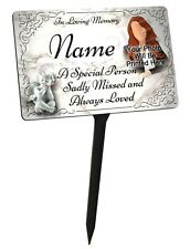 Your Photo Personalised Memorial Plaque & Stake. Waterproof, for garden grave
