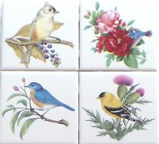 "Beautiful Birds Ceramic Tile set 4 of 4.25"" x 4.25"" Kiln Fired Song Bird Decor B"