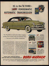 1951 FORD Custom Car With New Fordomatic Automatic Transmission VINTAGE AD