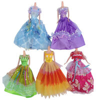 5* Barbie Doll Fashion Princess Party Dress Wedding Clothes/Gown Set,