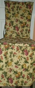 "Waverly Garden Room FLORAL MANOR FRUIT Dining Chair Cover Cotton Duck 42""Tall"