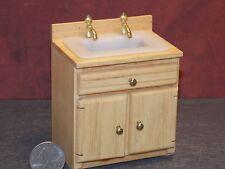 Dollhouse Miniature Oak Kitchen Sink Cabinets 1:12 inch scale F20 Dollys Gallery