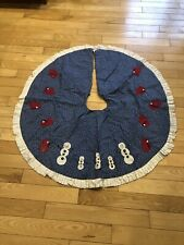Handmade Tree Skirt Quilted Applique Vintage Christmas Snowman And Mittens