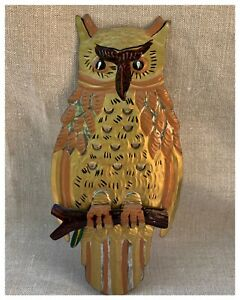 """Large Vintage Painted & Hammered Tin Owl Mexico - Mexican Folk Art 🦉 10"""""""