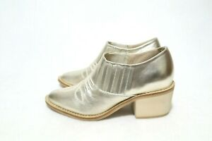 N.Y.L.A Size 5 Womens Gold Leather Wood Unit Block Oxfords RRP US $139