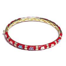 Red Enamel Multi Color Flowers Gold Plated Kids Teens Women Bangle Bracelet 57mm