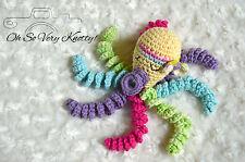 "Handmade Amigurumi Preemie-Buddy, Baby Toy Stuffed Octopus Crochet 7"" Girly"