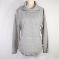 Burton Gray White Striped Ellmore Pullover Sweatshirt Size Small Womens Cowl Nck