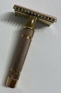Vintage Gillette Double Comb Double Edge Safety Razor Gold Tone USA