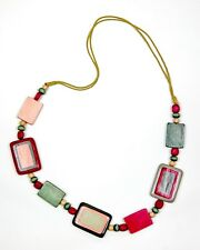 Pink and Grey Painted Wood Necklace