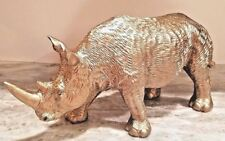Rhinoceros Modern Gold Life Like Rhino Statue Protective Collection Brand New