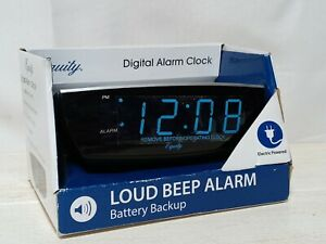 Equity EXTRA LOUD Digital Alarm Clock Blue LED Display Electric w Battery Backup