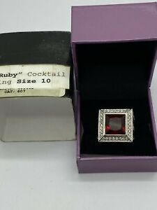Suzanne Somers Silver Tone Ruby CZ Large Cocktail Ring SZ 10