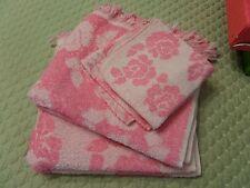 2 Vintage Cannon Pink Reversible Floral Bath Towel Washcloth Fringe Mid Century