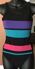 Leotard VTG Aerobics Dance Black Pink Purple Teal Blue Green Striped 90s Large