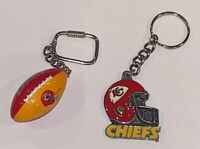 2 KANSAS CITY CHIEFS NFL Football Key Chain Ring Great American Products Helmet