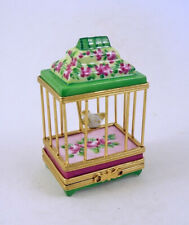 New French Limoges Trinket Box Cute Bird in Gorgeous Floral Cage with Pink Roses