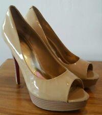 """Paris Hilton Debra Tan Nude Patent Leather Peep Toe Platform 5"""" Heels 39 US 8.5"""