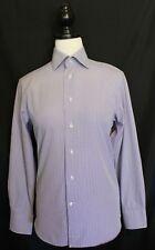 RHODES & BECKETT~ Mauve White Gingham Check Cotton Business Shirt 33 Slim S