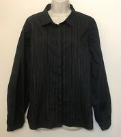 Worthington XL Button Down Shirt Black & Pinstripe Long Sleeve Collared Top
