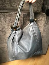 JIMMY CHOO GREY LEATHER BANGLE BRACELET HOBO SABA BAG HANDBAG
