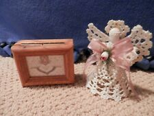 Angel Ornament and Wooden Box w/ Angel Picture