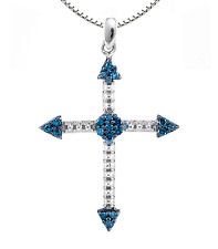 "Blue Diamond Cross 10K White Gold Blue Diamond Cross Pendant .15ct Over 1"" Drop"