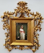 KPM FINE & RARE GERMAN 19C PORCELAIN PLAQUE AND ROCOCO FRAME BY WAGNER