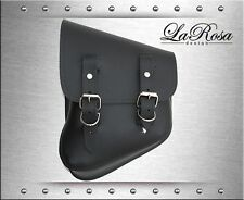 La Rosa Black Leather Harley Softail Rigid Custom Left Swing Arm Solo Saddle Bag