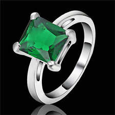 Lady's Jewelry Green Emerald white Rhodium Plated Wedding Size 7 Ring