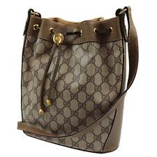 GUCCI GG Plus Web Stripe Shoulder Bag Brown PVC Leather Italy Authentic #Q947 I