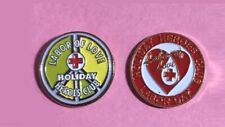 2 ARC💖 American Red Cross Pins-2 Labor Day Holiday Heroes Red & PEACE Sign Pin