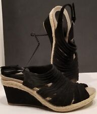 Earthies Teesi Size 10 B Black Suede & Jute Peep Toe Wedge Slingback Sandals