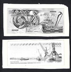 Burundi Face & Back 1000 Francs 12-12-1966 Unissued Design Photograph Proof