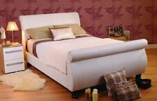 Sweet Dreams Mandarin White Faux Leather Sleigh Bed Bedstead Double 4ft6 135cm
