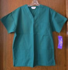 PEACHES XS Hunter Green V-neck SCRUB top Basic tunic Patch&Chest pocket 4256 NEW