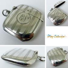 PORTAFIAMMIFERI ANTICO ARGENTO 1912 Antique Silver Vesta Case Matchbox Fob