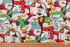 Noel (Noël) - Bonhomme de Neige / Festive Esprit - Imprimé Tissu Coton