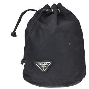 PRADA MILANO Tessuto Drawstring Pouch Bag Nylon Leather Black Italy 09MK405