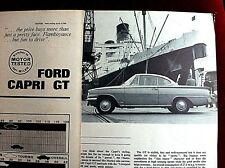 FORD CAPRI GT (116E) -1964 - Road Test removed from MOTOR magazine