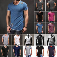 Men's Short Sleeve T-Shirt Summer Slim Fit Casual Muscle Tee Shirts Tops Blouse