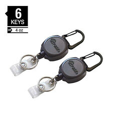 (2) KEY-BAK Sidekick Retractable Badge Reels - Heavy Duty ID Holder - USA Made