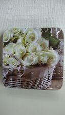 6 Kork Untersetzer--wunderschönes Rosen Motiv--weiße Rosen--Romantik--Neu + OVP