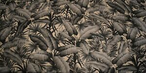 Black, White And Gray Tropical Leaf Cotton Fabric      SOLD BY THE YARD