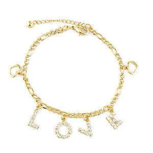 "14k Gold Filled Charm Bracelet LOVE Rhinestone Heart Women 7.5"" Pulsera Oro Amor"