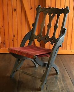 Victorian Folding Campaign Tapestry Seat Chair