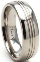 New Boxed Engraved ''I Love You'' 8mm Titanium Wedding Engagement Band Ring